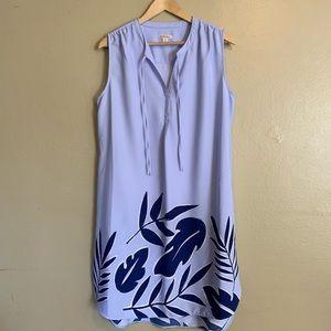 Merona   Blue Large Leaf Print Dress   XL